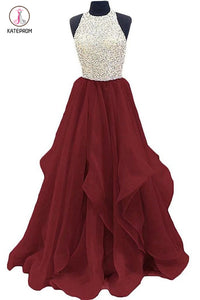 Burgundy Jewel Sleeveless Organza Floor Length Prom Dress with Sequins, Graduation Dress KPP0453