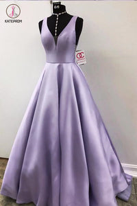 Simple Lavender V Neck Sleeveless Prom Dress, Cheap Ruched Graduation Dress KPP0455