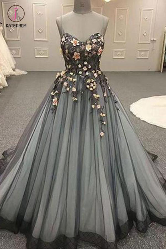 Gray Spaghetti Straps Sweetheart Long 3D Floral Cheap Tulle Prom Dresses KPP0459