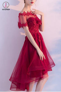 Unique Sweetheart Red High Low Lace Up Back Tulle Cheap Prom Dress With Appliques KPP0465