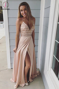 Spaghetti Straps V Neck Slit Prom Dress with Beading, Beaded Prom Gown, Party Dress KPP0467