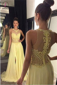 A Line Jewel Sleeveless Appliqued Prom Dress with Beading,Yellow Chiffon Evening Dress KPP0469