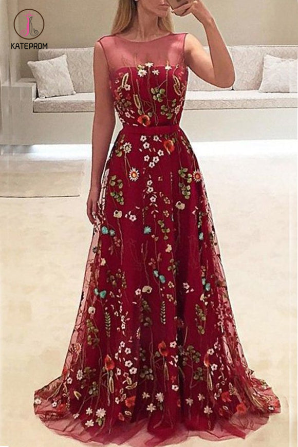 Elegant Burgundy Long A-line Sleeveless Prom Dress with Flowers, New Party Dress KPP0477