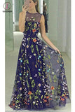Popular Floor Length A-line Sleeveless Prom Dress with Embroidery Flowers KPP0478