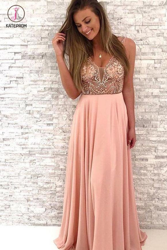 Gorgeous Beaded Prom Dresses, Peach Chiffon Long Prom Dress,V-Neck Party Dress KPP0479
