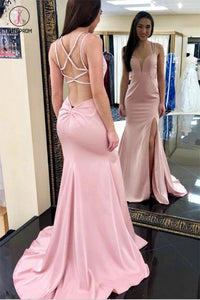 Sexy Mermaid Pink Prom Dress with Split, Criss-Cross Back Long Evening Dress KPP0480