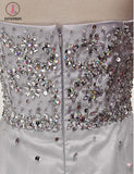 Cheap Silver A Line Jewel Sleeveless Organza Prom Dress with Sequins Crystals KPP0481