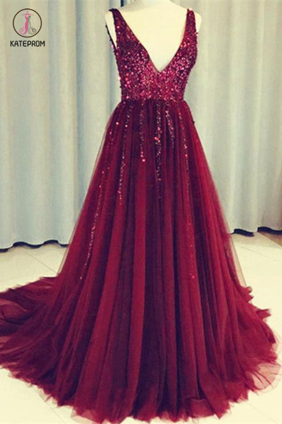 Dark Red V Neck Sleeveless Tulle Prom Dress with Sequins, Long Sequined Evening Dress KPP0485