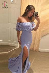 Lavender Off Shoulder Mermaid Split Evening Dress with Lace, Sexy Slit Prom Dress KPP0486