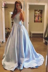 Simple A Line V Neck Sleeveless Sweep Train Evening Dress, Light Blue Cheap Prom Dress KPP0488