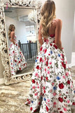 A-Line Strapless High Low White Printed Prom Dress with Pockets, Floral Party Dress KPP0494