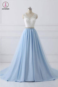 A Line V-neck Lace Appliques Bodice Long Prom Dresses,Elegant Prom Dress with Beads KPP0495