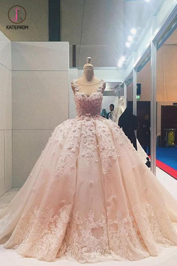 Ball Gown Sleeveless Lace Appliqued Tulle Prom Dresses, Quinceanera Dress Wedding Dress KPP0498