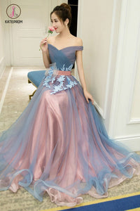 A-Line Off-the-Shoulder Tulle Long Prom Dresses Long Tulle Pleats Evening Dresses KPP0500