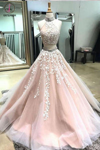 Two Piece High Neck Open Back Appliques Prom Dress with Beads, Long Formal Dress KPP0501