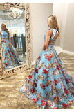 Two Piece Crew Open Back Sweep Train Light Blue Sleeveless Lace Prom Dress KPP0504