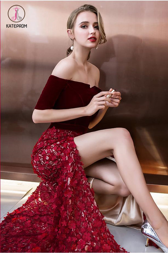 Burgundy Off Shoulder Half Sleeve Long Evening Dress with Side Slit, Mermaid Prom Dress KPP0505