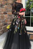 Two Piece Long Sleeves Black Lace Bodice Tulle Prom Dress with Appliques KPP0506