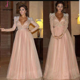Elegant Long Sleeve Formal Dress with Beads, A Line Sparkle V Neck Evening Dresses KPP0508