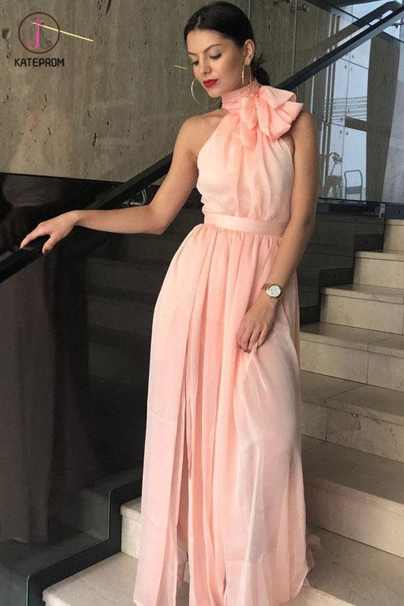 Unique A-Line High Neck Chiffon Long Prom Dress, Cheap Sleeveless Long Formal Dress KPP0509