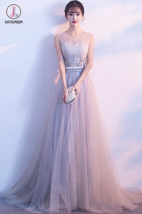 Gray Sleeveless Tulle Long Prom Dress with Beads, A Line Formal Dress with Flowers KPP0510