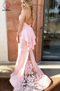 Mermaid Halter Pink Formal Dress with Lace, Sexy Long Backless Satin Prom Dresses KPP0512