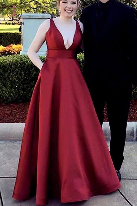 Burgundy Deep V Neck Satin Long Prom Dress, Floor Length Formal Evening Gown KPP0513