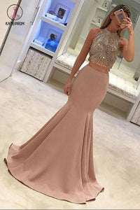 Gorgeous Two Piece Mermaid Prom Dresses, Beading Long Formal Dress, Formal Dress KPP0515