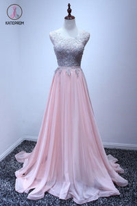 A Line Sleeveless Chiffon Long Appliqued Prom Dress, Pink Formal Dresses KPP0519