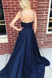 Dark Blue Spaghetti Strap Long Satin Evening Dress, Long Sleeveless Split Prom Dress KPP0523