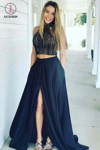 Navy Blue High Neck Prom Dress with Slit, Two Piece Sleeveless Cheap Formal Dresses KPP0525
