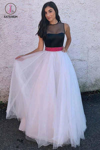 A Line Ivory Tulle Prom Dress with Black Top, Floor Length Formal Dress with Beading Waist KPP0526