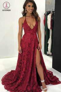 Burgundy Deep V Neck Lace Evening Dress, Sweep Train Backless Long Lace Prom Gown KPP0530