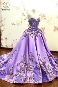 Lilac Ball Gown Sweetheart Prom Dress, Gorgeous Party Dress with Lace Appliques KPP0534