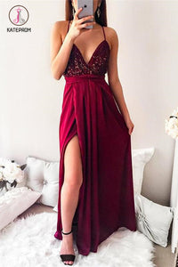 Spaghetti Strap Sequin Top Side Slit Prom Dresses, Floor Length Sparkly Prom Dresses KPP0538