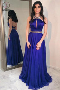 Royal Blue Floor Length Jewel Long Prom Dress with Beads, Sexy Backless Evening Dress KPP0539