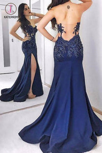 Dark Blue Strapless Long Evening Dress, Sexy Sweetheart Appliqued Prom Dresses KPP0546