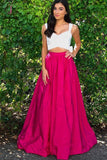Fuchsia Two Piece Strap Prom Dress With White Top, Long Sexy Formal Dress with Bowknot KPP0549