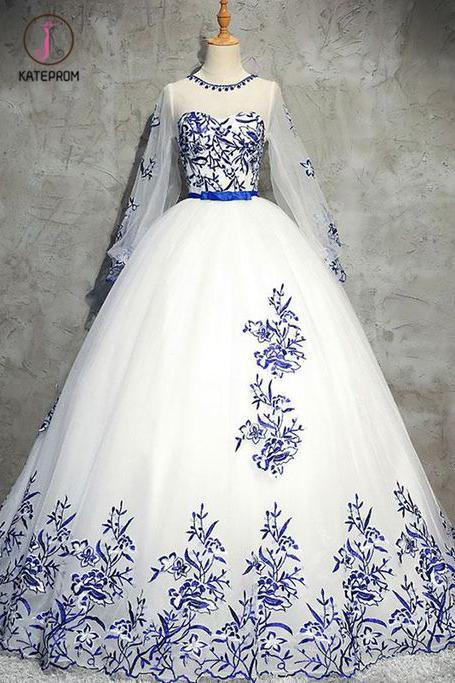 Ivory Long Sleeve Tulle Prom Dress with Appliques, Puffy Appliqued Long Evening Dress KPP0550