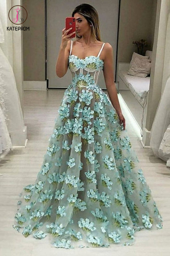 Cheap Spaghetti Strap Flower Lace Prom Dress, A Line Floor Length Evening Dress KPP0552