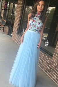 Light Sky Blue High Neck Tulle Prom Dress with Embroidery, Floor Length Evening Dress KPP0544