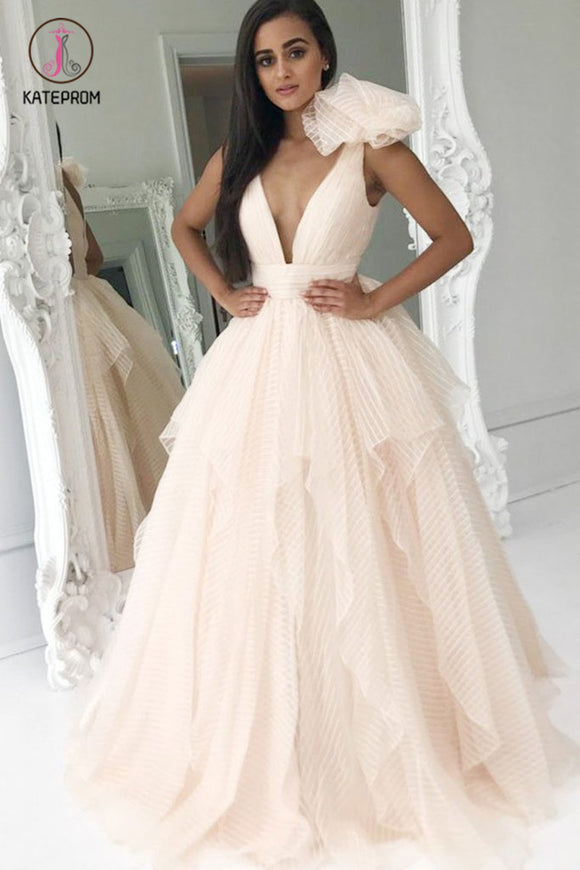 Elegant Deep V-Neck Light Pink Ball Gown Princess Prom Dresses Quinceanera Dresses KPP0545