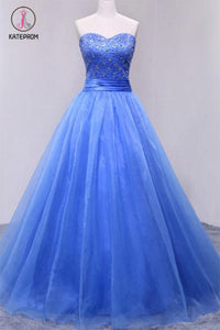 Puffy Sweetheart Organza Floor Length Prom Dress with Beading, Strapless Evening Dress KPP0557
