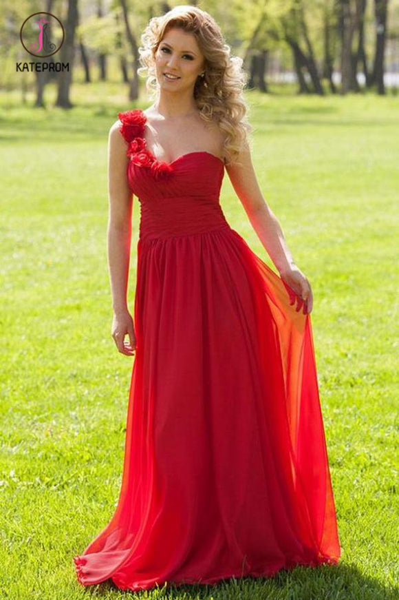 Floor Length One Shoulder Chiffon Prom Dress, Cheap Evening Dress with Pleats KPP0558