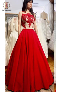 Puffy Floor Length Red Prom Dress with Appliques, Long Satin Evening Dress KPP0560