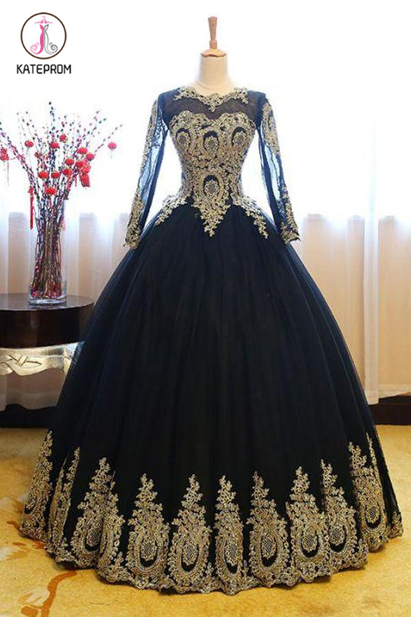 Black Ball Gown Long Sleeves Party Dress, Princess Tulle Prom Dress with Lace Appliques KPP0564