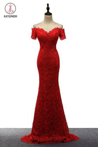 Red Off the Shoulder Mermaid Lace Prom Dresses, Sweep Train Long Evening Dresses KPP0565