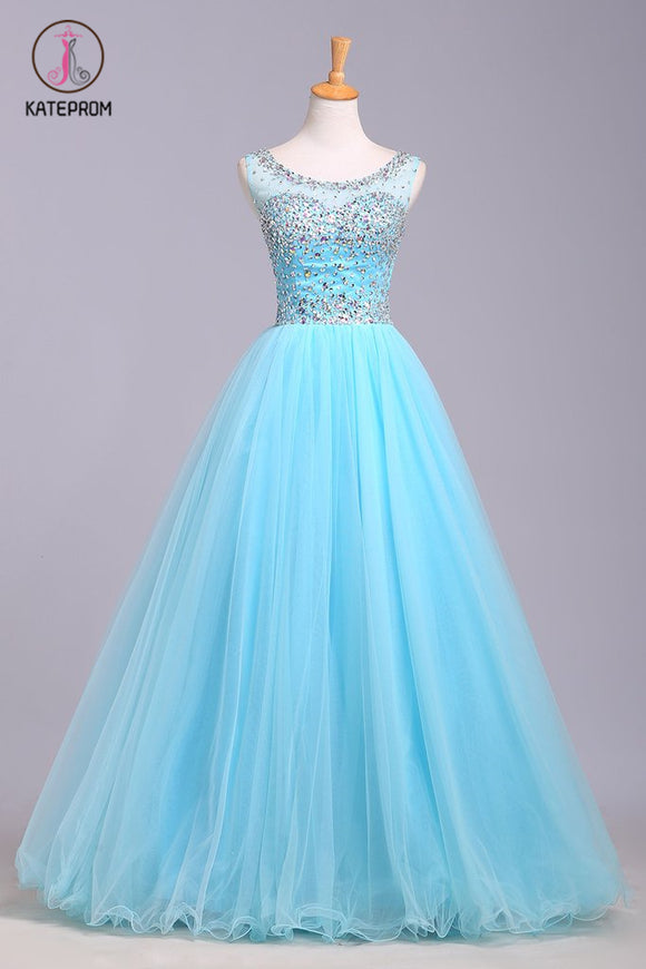 Blue Scoop Sleeveless Tulle Prom Dress with Sequins, Floor Length Puffy Evening Dress KPP0567