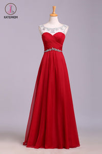 Red Floor Length Chiffon Prom Dress with Crystals, A Line Pleated Evening Dress KPP0568
