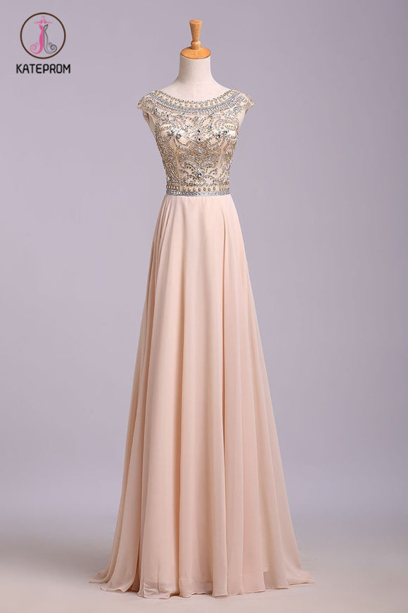 A Line Floor Length Scoop Chiffon Prom Dress, Beading Long Evening Dresses KPP0572